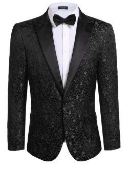 Men's Floral Party Dress Suit Stylish Dinner Jacket Wedding Blazer Prom Tuxedo
