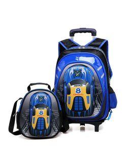 Lyfreen 2Pcs Cute Car School Bag Waterproof Rolling Backpack with Lunch Bag 2Wheels/6Wheels School Backpack for Boys Girls