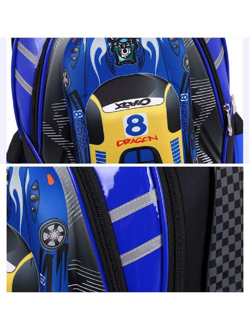 Lyfreen 2Pcs Cute Car School Bag Waterproof Rolling Backpack with Lunch Bag 2Wheels/6Wheels School Backpack for Boys Girls