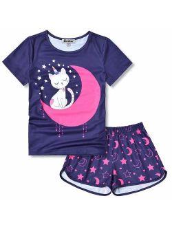 Girls Unicorn/mermaid/flamingo Pajamas Cotton Set Print 3-13years
