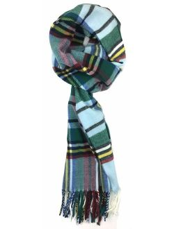 Plum Feathers Plaid Check and Solid Cashmere Feel Winter Scarf