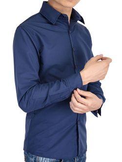 Men's Dress Shirt Button Down Solid Custom-fit Long Sleeve Casual Shirt Mens Dress Shirts Long Sleeve Wrinkle Free Blue