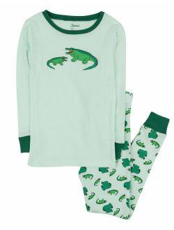 Kids Pajamas Boys Girls 2 Piece Pjs Set Animal Prints 100% Cotton (size 12 Months-14 Years)