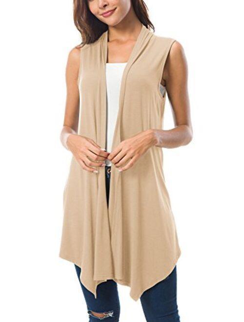 Urban CoCo Women's Sleeveless Draped Open Front Cardigan Vest Asymmetric Hem