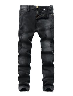 Fredd Marshall Boy's Black Skinny Ripped Jeans Destroyed Distressed Stretch Slim Fit Denim Jeans Pant