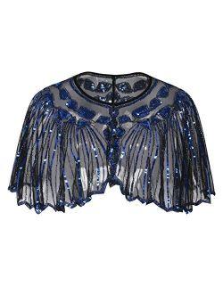 Women's 1920s Shawl Beaded Sequin Deco Evening Cape Bolero Flapper Cover Up