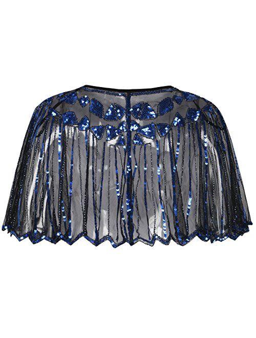 PrettyGuide Women's 1920s Shawl Beaded Sequin Deco Evening Cape Bolero Flapper Cover Up