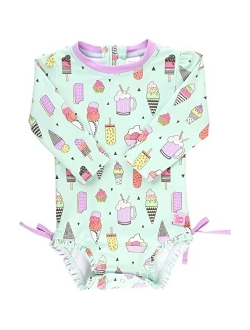 Baby/toddler Girls Long Sleeve One Piece Swimsuit With Zipper