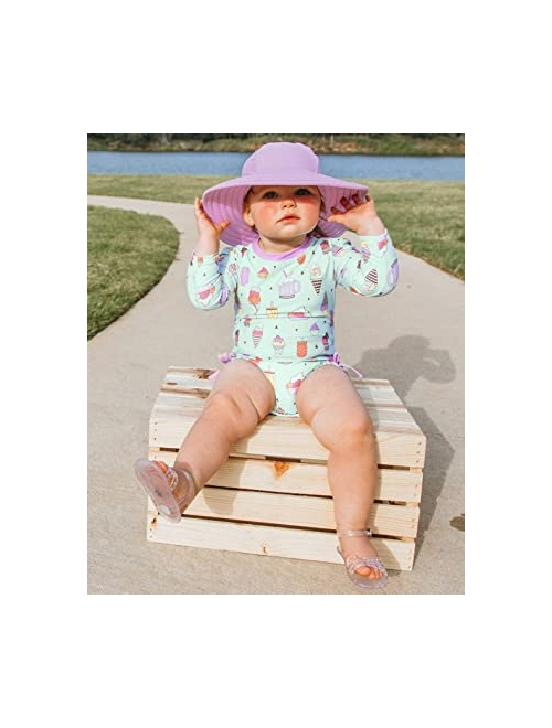RuffleButts Baby/Toddler Girls Long Sleeve One Piece Swimsuit with Zipper