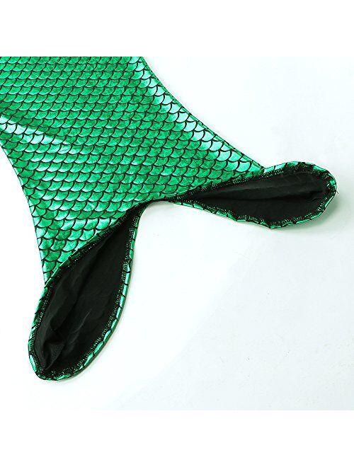3Pcs Mermaid Tail for Baby Girls Swimming Mermaid Bathing Suits Swimsuit Bikini Set 3-12 Years