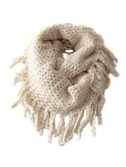 Kid Boy Girl Winter Warm Knitted Infinity Loop Scarf Neck Warmer Thick Bi-colour