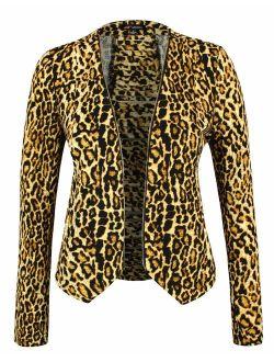 Michel Women's Open Front Lightweight Cardigan Blazer Jacket with Plus Size (1XL ~ 3XL)