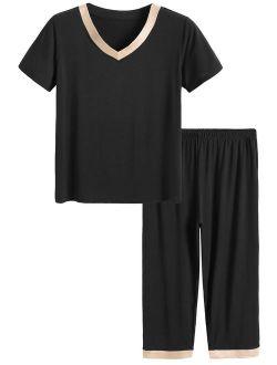 Latuza Women's Sleepwear Tops with Capri Pants Pajama Sets