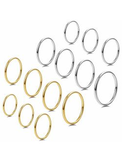 Milacolato 7-14 PCS 1MM Stainless Steel Band Knuckle Stacking Rings for Women Girls Fashion Midi Rings Comfort Fit Size 3-9