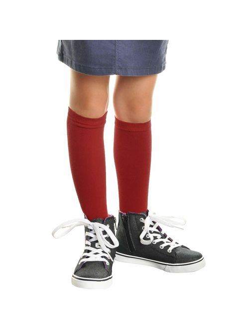 Angelina Girls Cotton Knee High Socks (12-Pack)