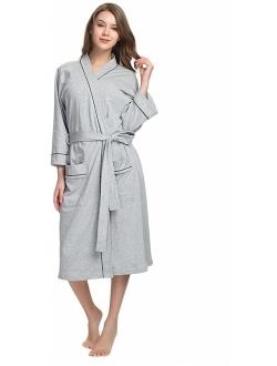 HEARTNICE Womens Cotton Robe Soft Kimono Spa Knit Bathrobe Lightweight Long