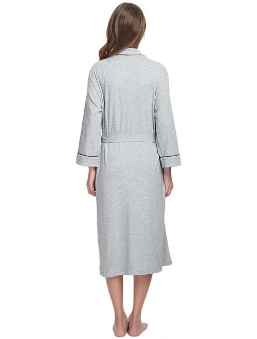 M/&M Mymoon Womens Cotton Robe Soft Kimono Spa Knit Bathrobe Lightweight Long