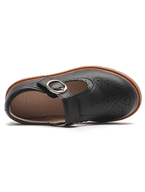WUIWUIYU Toddlers Little Big Girls T-Strap Oxfords Shoes School Uniform Dress Mary Jane Flats