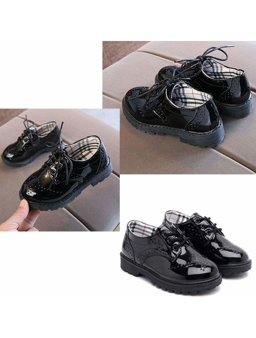 Tutoo Toddler Boy Girl Oxford Child School Uniform Shoe Lace-up Party Wedding Performance Dress Loafer Flats (Toddler/Little Kid)