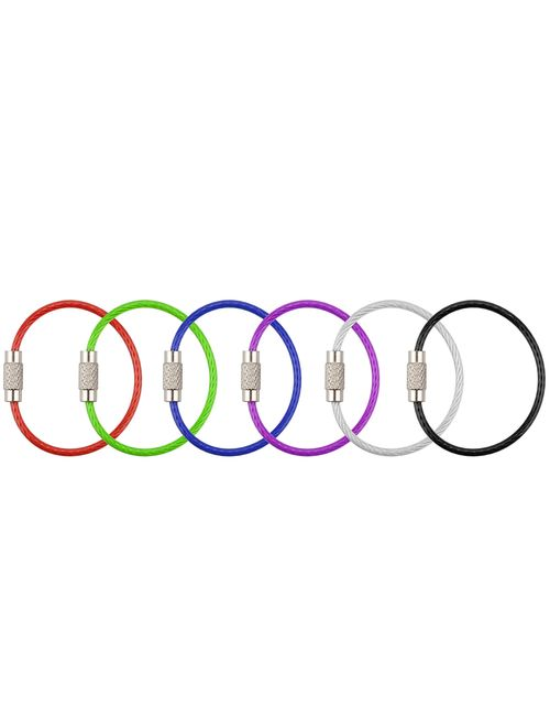 Keychain, Wisdompro Stainless Steel Wire Ring 2mm Cable Loop Rings for Hanging Luggage Tag, Keyrings and ID Tag Keepers
