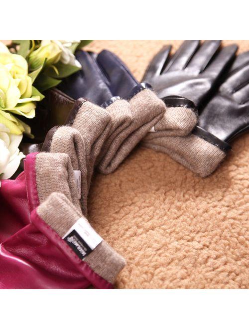 Warmen Women's Touchscreen Texting Driving Winter Warm Nappa Leather Gloves (Fleece or Cashmere Lining)