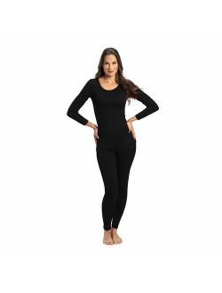 Rocky Thermal Underwear for Women Fleece Lined Thermals Women's Base Layer Long John Set... (Black, Large)