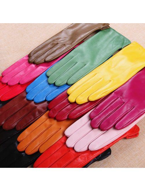 WARMEN Women Touchscreen Texting Nappa Leather Glove Winter Warm Plain Cashmere & Wool Blend Lined Gloves