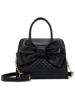 Quilted Bow Satchel Handbag For Women, Vegan Leather Crossbody Bag, Shoulder Bag, Tote Purse, H1048