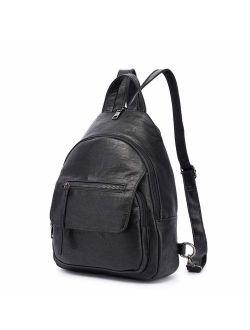 Women Backpack Purse, Small Shoulder Bag Lightweight School Travel PU Leather Purse with Adjustable Shoulder Strap
