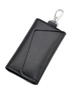 Heshe Leather Key Case Wallets Unisex Keychain Wallet Key Holder Ring with 6 Hooks Snap Closure