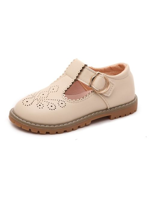 Girls Mary Jane Shoes Leather T-Strap Princess Flat Oxford School Dress Shoes for Toddler Little Kids
