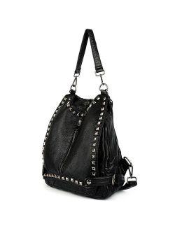 Women Backpack Purse Pu Washed Leather Rivet Studded Convertible Ladies Rucksack Shoulder Bag