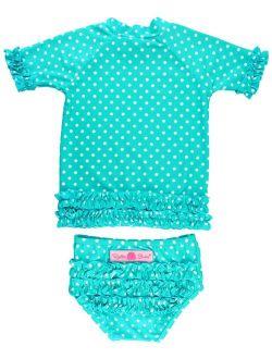 Little Girls Rash Guard Short Sleeve 2-piece Swimsuit Set - Polka Dot Bikini With Upf 50+ Sun Protection