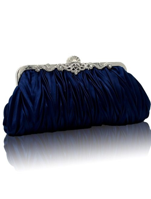 Kingluck Silk Cocktail Evening Handbags/Clutches in Gorgeous Silk More Colors Availabl (dark blue)