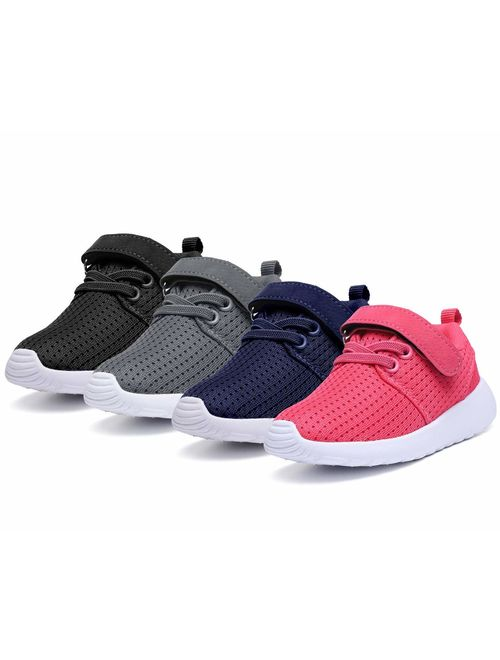 DADAWEN Boy's Girl's Lightweight Breathable Sneakers Strap Athletic Running Shoes