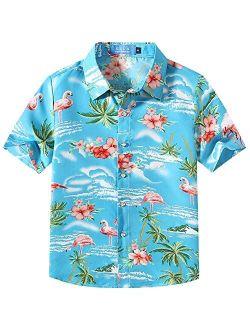 SSLR Big Boy's Flamingos Button Down Short Sleeve Aloha Hawaiian Shirt