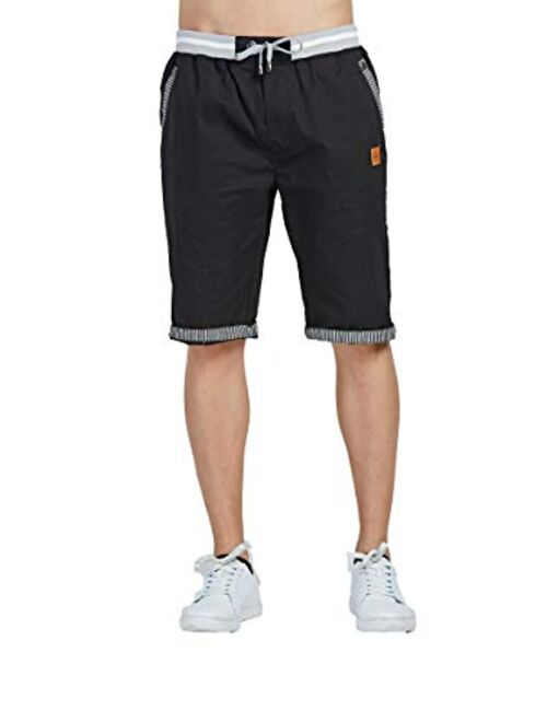 Tansozer Men's Shorts Casual Classic Fit Drawstring Summer Beach Shorts with Elastic Waist and Pockets