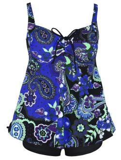 Women's Plus Size Swimwear Floral Tankini Set Drawtring Modest Two Piece Swimsuit