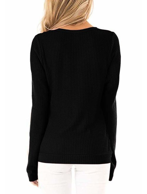 ZC&GF Women's Casual Long Sleeve Cross Front V Neck Tops Button Pleated Loose Blouses