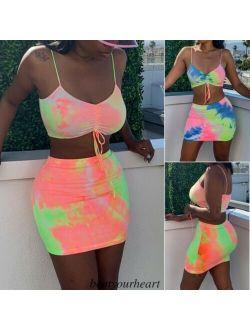 New Sexy Womens 2Pcs Co-ord Set Crop Top ; Shorts Playsuit Summer Mini Jumpsuit