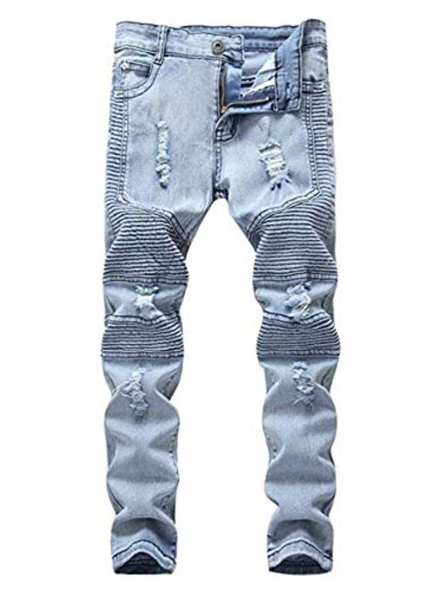 OBT Boy's Slim Moto Biker Skinny Ripped Jeans Distressed Stretch Fashion Fit Denim Jeans