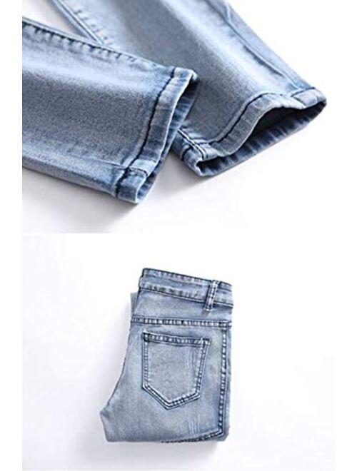 OBT Boy's Slim Moto Biker Skinny Ripped Jeans Distressed Stretch Fashion Fit Denim Jeans