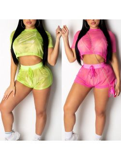 Womens Holiday 2pcs Co-ord Set Crop Top Shorts Summer Beach Mini Jumpsuit Dress
