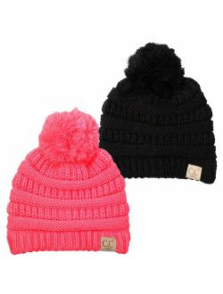 Funky Junque Kids Baby Toddler Cable Knit Children's Pom Winter Hat Beanie