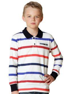 Leo&Lily Big Boys' Long Sleeves Striped Cardigan Polo Shirt
