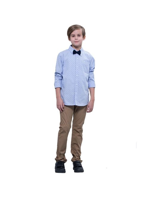 Leo&Lily Boys'Kids Casual Dressing Blue Print Woven Button Down Shirts