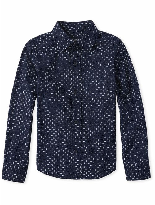 The Children's Place Long Sleeve All Around Stamp Cube Print Oxford (Little Boys & Big Boys)