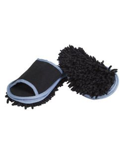 """Slipper Genie Microfiber Men's Slippers for Floor Cleaning, Men's House Slippers, Multi-Surface Cleaner, Dust Cleaning Tool, Black - Men's Size 9-11 -""""Slip Em On And They"""