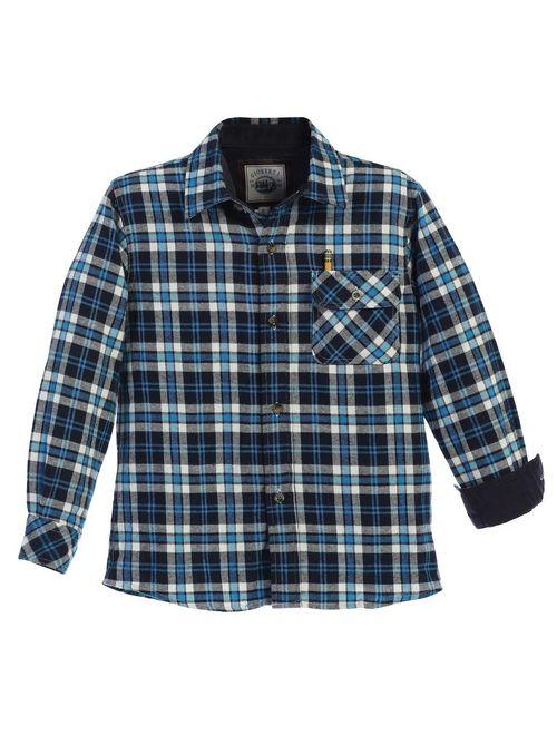 Gioberti Little Boys Turquoise Black Corduroy Contrast Flannel Shirt 4-7