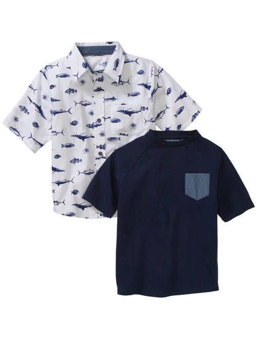 American Hawk Boys' 2 Piece Short Sleeve Woven Shirt with Pocket Tee